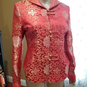 Asian fitted blazer style top red hold silver
